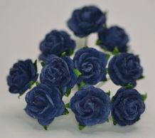 1 cm VERY DARK NAVY BLUE Mulberry Paper Roses